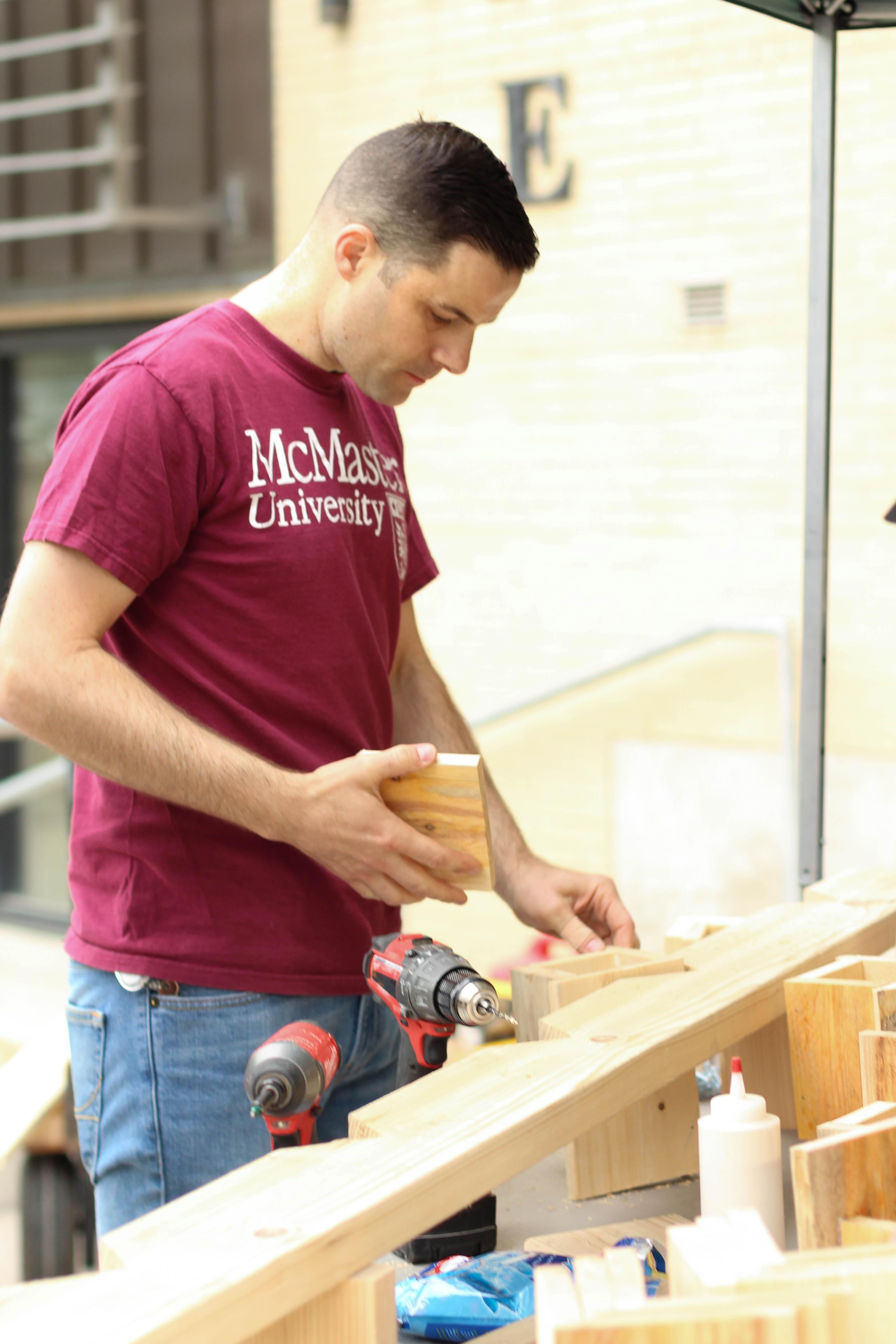Carpenters build bee boxes